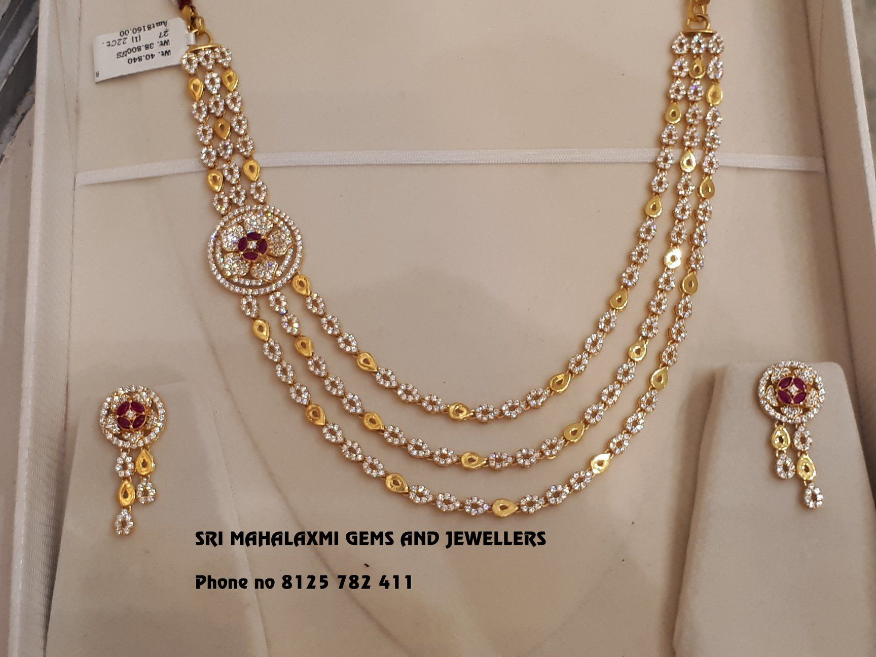dba7d698abf Gold Jewelry Making. New designs of Cz Necklace chokers added in very light  weight range. Showing below is 40 gm 3 step Necklace plus ear rings 9 gms.