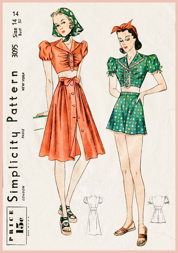 1930s 1940s vintage sewing pattern crop top puff blouse beach ...