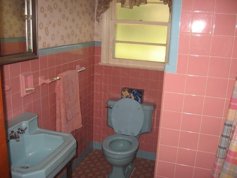 Explore Casas De Banho Retro, Azul E E Muito Mais! Pink Bathroom Part 59