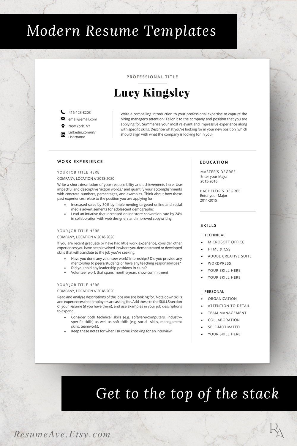 Professional executive resume template Word cv design with