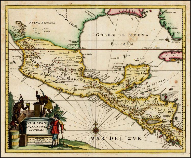 Map Of North Florida.Nova Hispania Nova Galicia Guatimala With Part Of Florida And Cuba