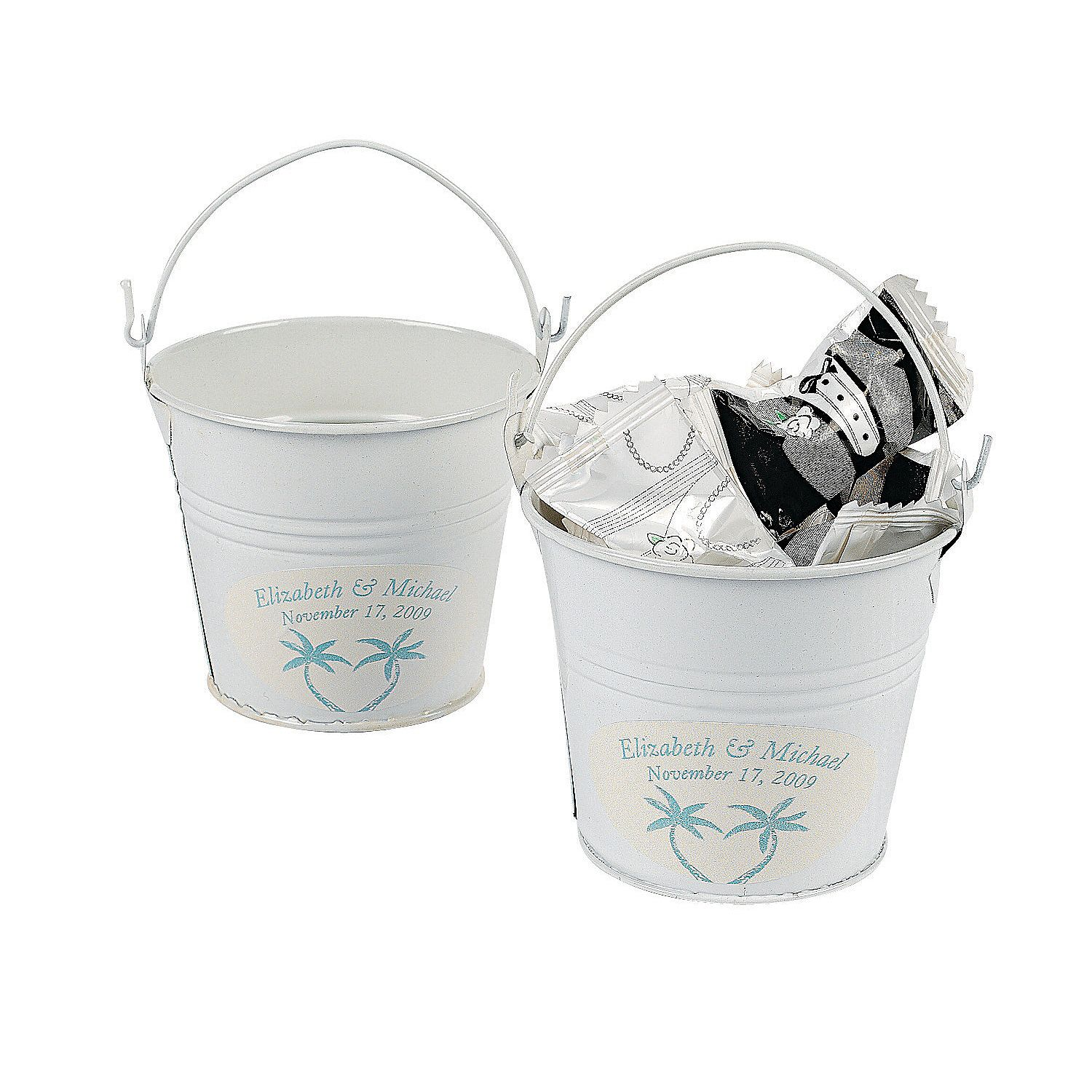 Personalized Beach Theme White Pails. What a cute table decoration ...