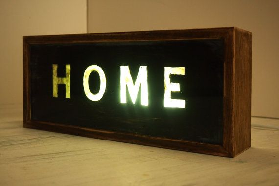Handcrafted Wooden Light Box Sign Hand Painted Light Up