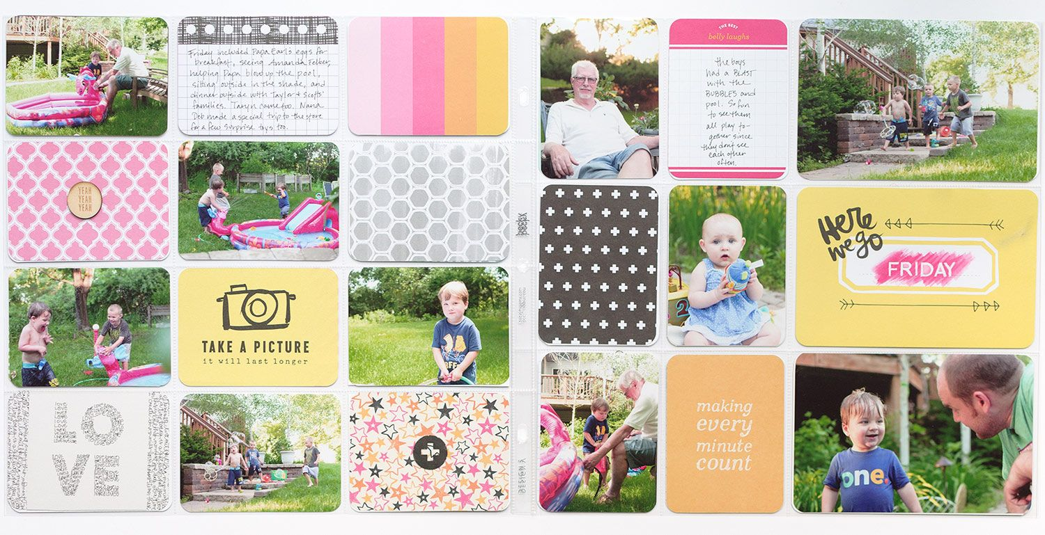 Pages by Donya Gjerdingen featuring the Plus One Mini Kit, Strawberry Edition, Kiwi Edition, and Jade Edition.