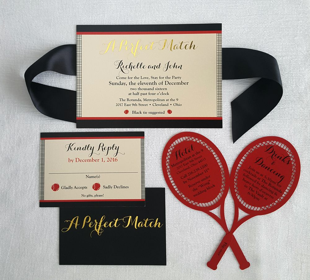 Tennis theme wedding invitation suite. Gold foil \