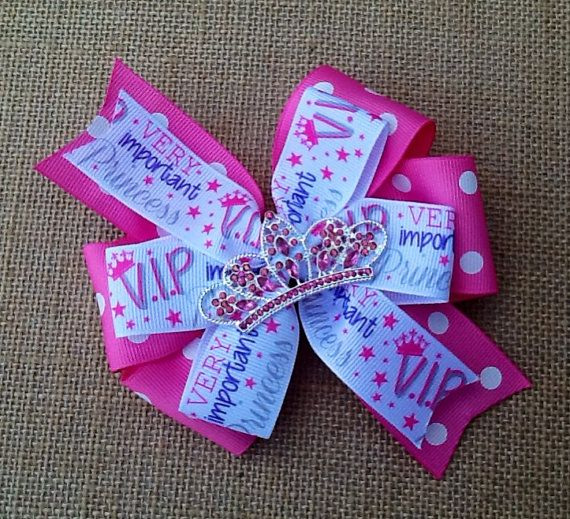 Princess Crown Hair Bow Crown Hair Bow Pink by RosieMaeBowtique, $6.50