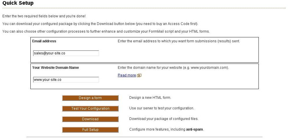 Get started quickly with sample forms and FormMail using our - feedback form sample
