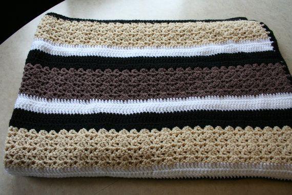 Brown Tan Black And White Crochet Stripes Throw Striped Crochet Blanket White Crochet Crochet