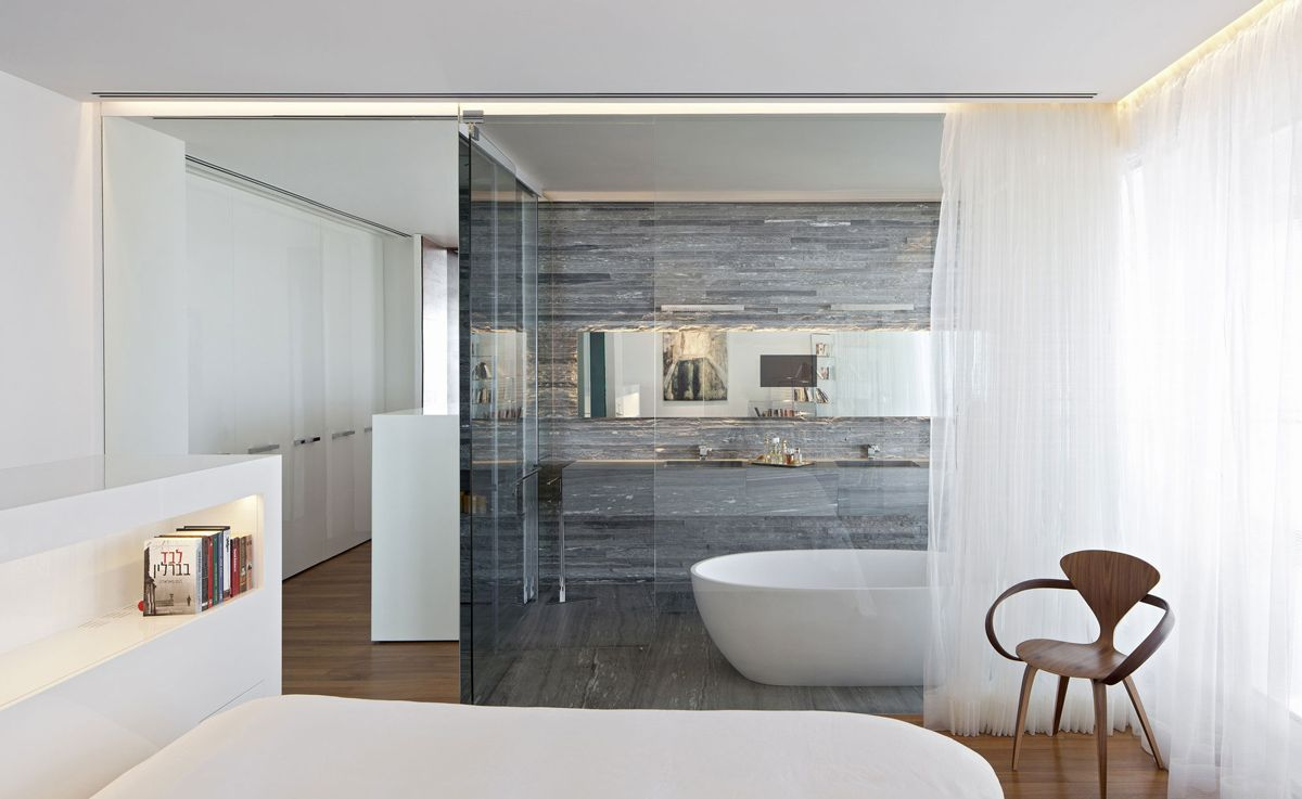 stone tiles, glass wall, bathroom, bedroom, elegant apartment with