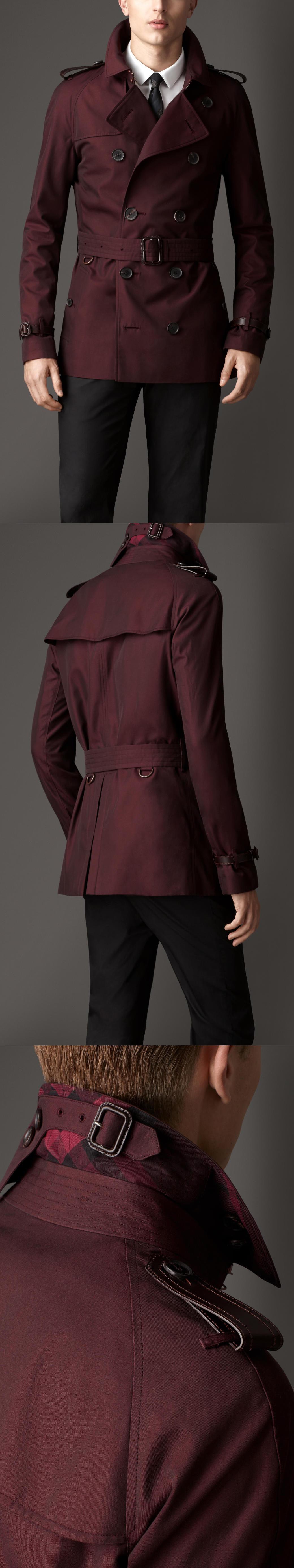 SHORT LEATHER DETAIL GABARDINE TRENCH COAT Trench jacket