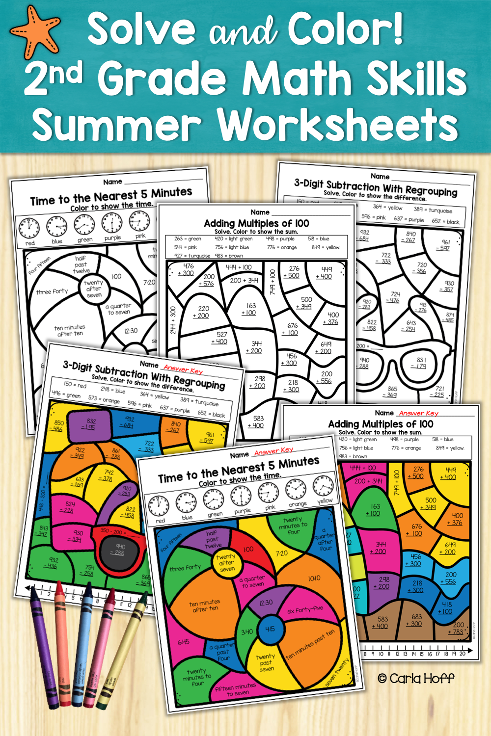 Summer 2nd Grade Math Skills Color By Code Worksheets Addition And Subtraction Math 2nd Grade Math Worksheets [ 1500 x 1000 Pixel ]