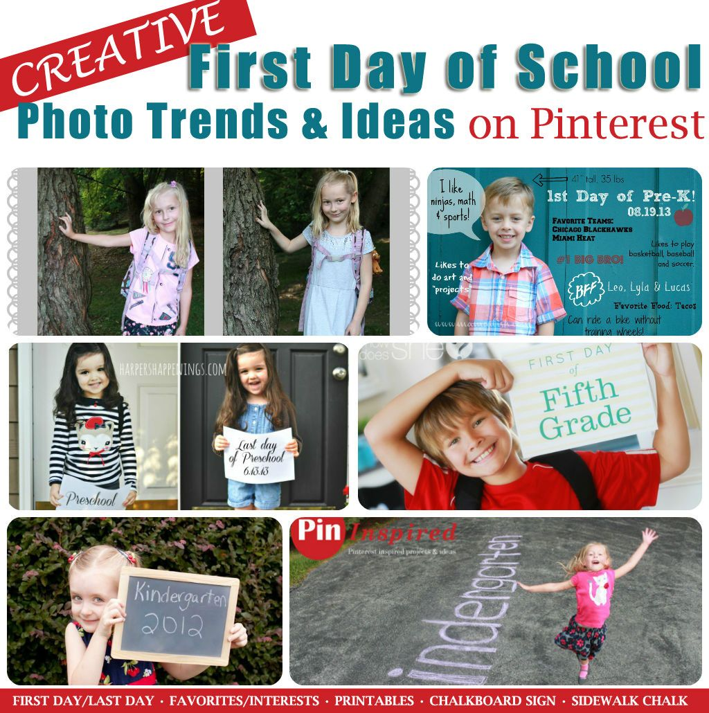 Round-up of first day of school photo ideas and trends from Pinterest like: chalkboard sign, sidewalk chalk, printables, first day/last day and favorites/interests #backtoschool #firstdayschool #schoolphotos