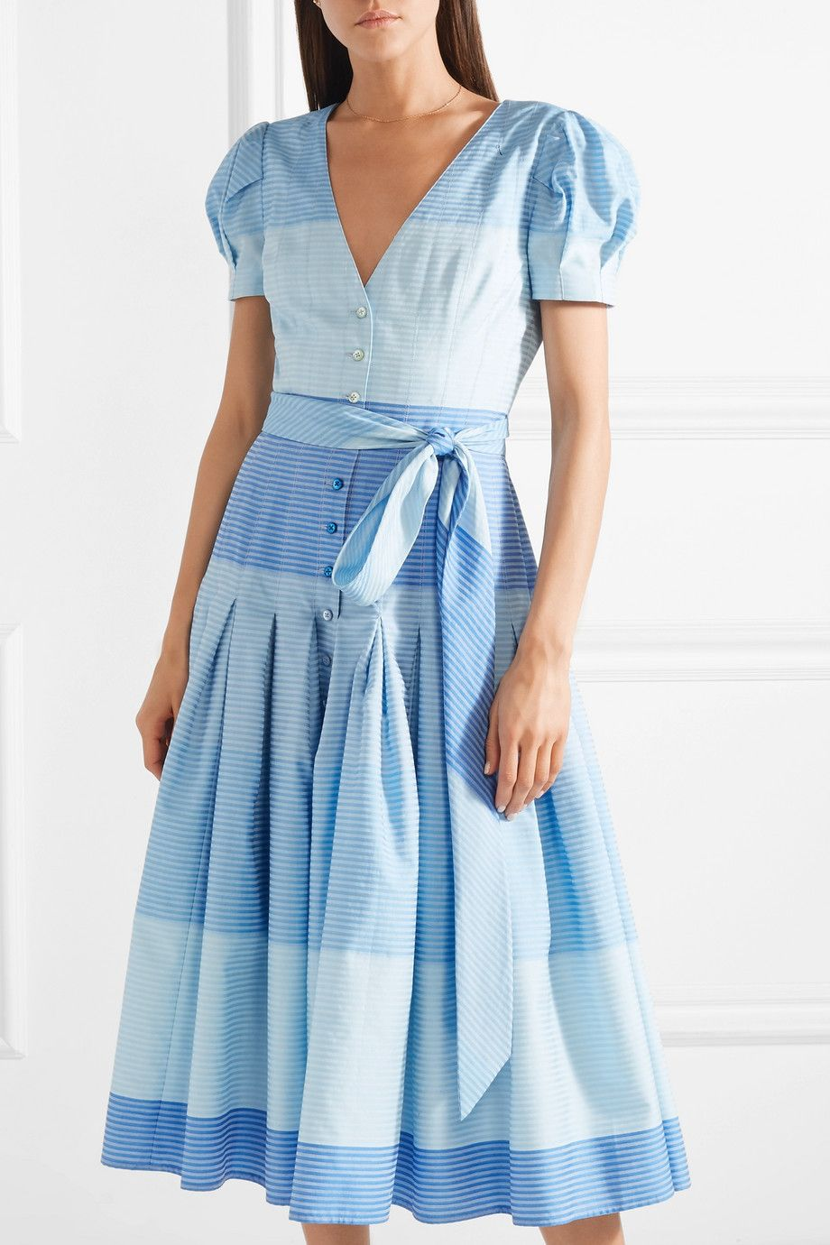 Pleated Striped Cotton Midi Dress - Blue Carolina Herrera 22ZigWk