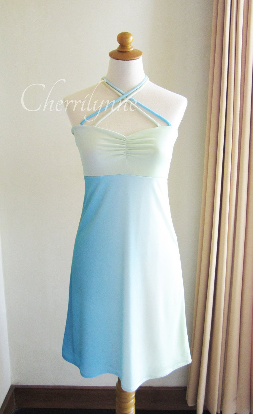 Jersey dress ombre blue light green yellow ombre lights and girly