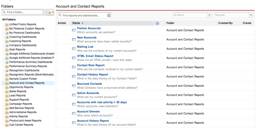 Understanding the Reports Tab Layout in Salesforce