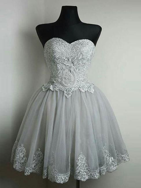 ea7b422b1b Strapless Sweetheart Neck Grey Homecoming Dresses Lace Appliqued Short Prom  Dresses