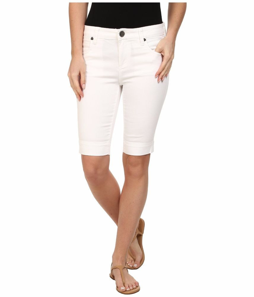 KUT from the Kloth Natalie Twill Bermuda White Shorts / Pants Classic Cut Size 6 #KUTfromtheCloth #BermudaShortsClassicCut