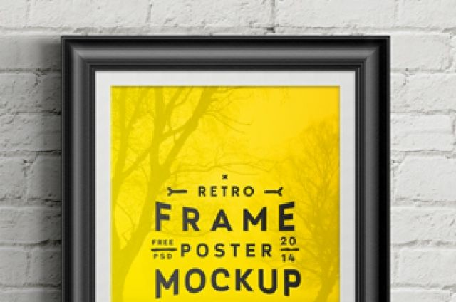 A psd retro frame poster mockup to display your poster size designs ...