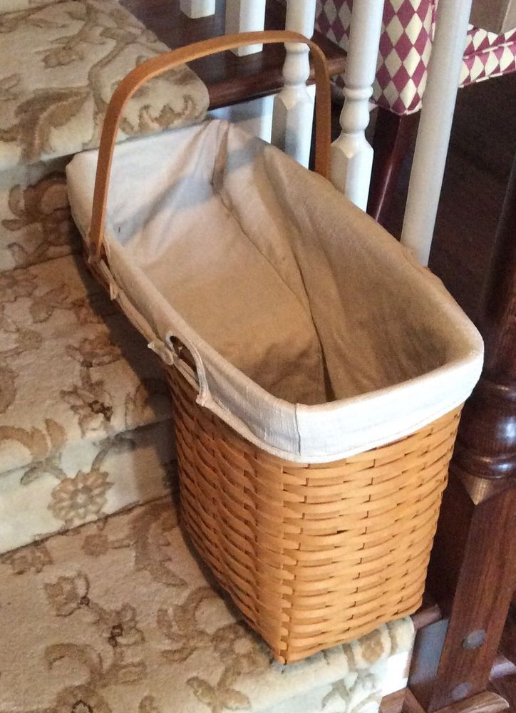 Longaberger Odds U0026 Ends Stair Step Basket, 2001, Signed, W/ Liner USA