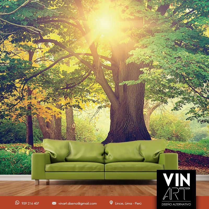 Foto mural de un excelente paisaje ideal para tu sala for Vinilos murales paisajes