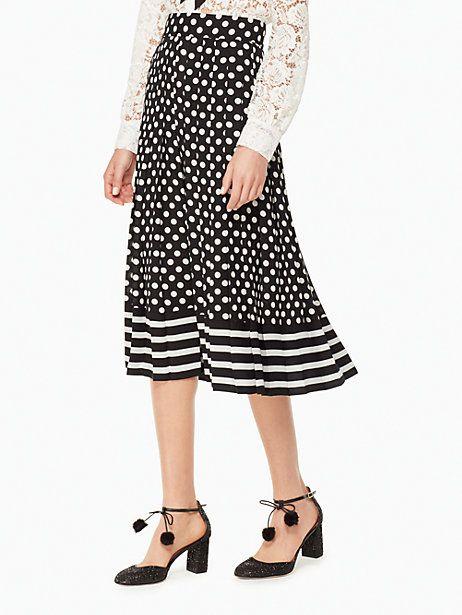 bc0e1ba8c4 Kate Spade Dot Stripe Pleated Skirt, Black/Cream - Size 16 ...