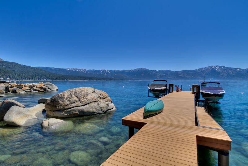 Pier at a lakefront home for sale in north lake tahoe for Luxury lake tahoe homes for sale