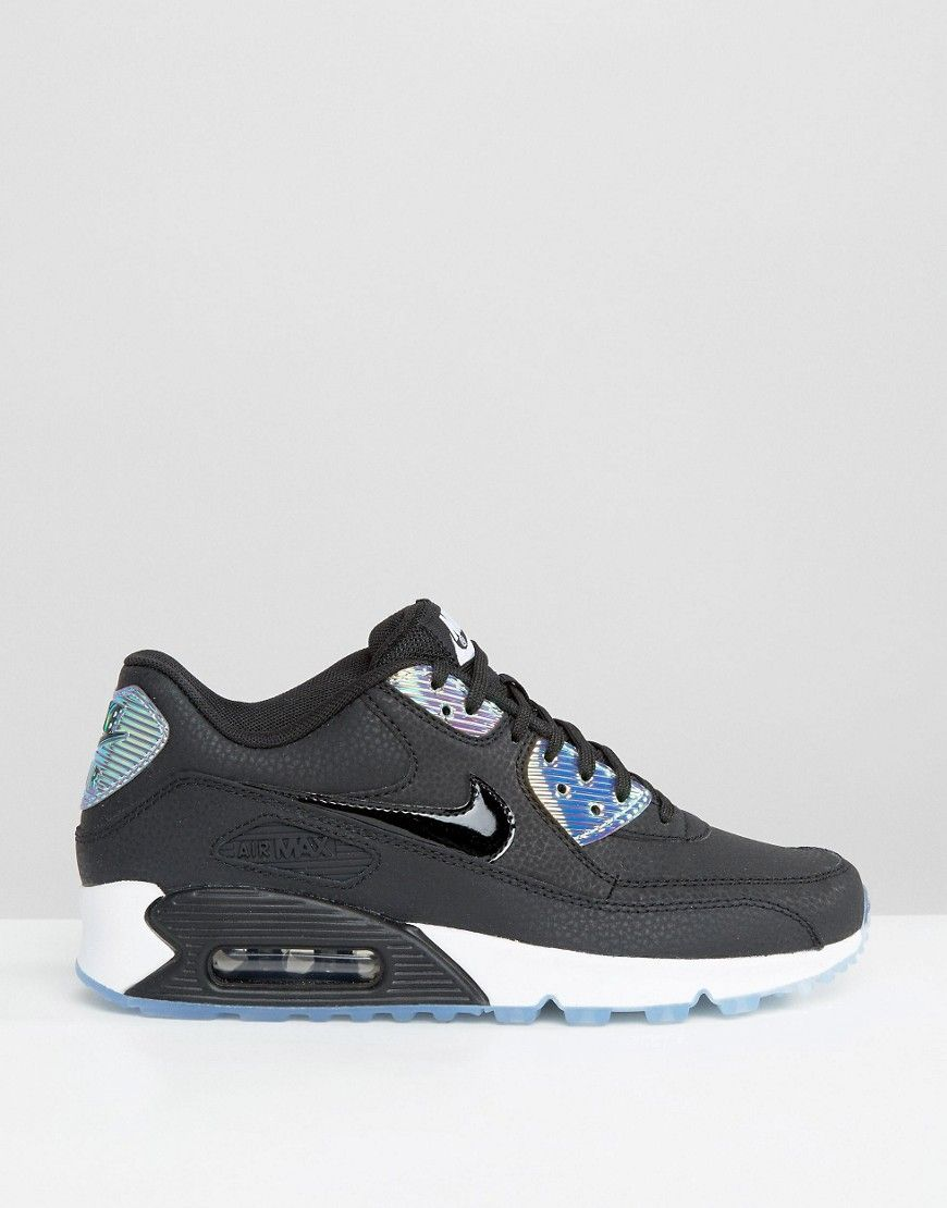 d6ebfe90d0a3 Image 2 of Nike Air Max 90 Premium Trainers In Holographic Black