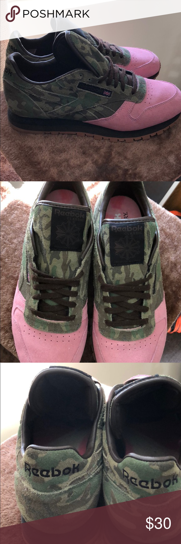 b77c5a32d964 Reebok pink and army print shoe gallery collab Reebok x shoe gallery  collab. Barely worn. New condition. MENS 8.5 women s 10. Reebok Shoes  Sneakers