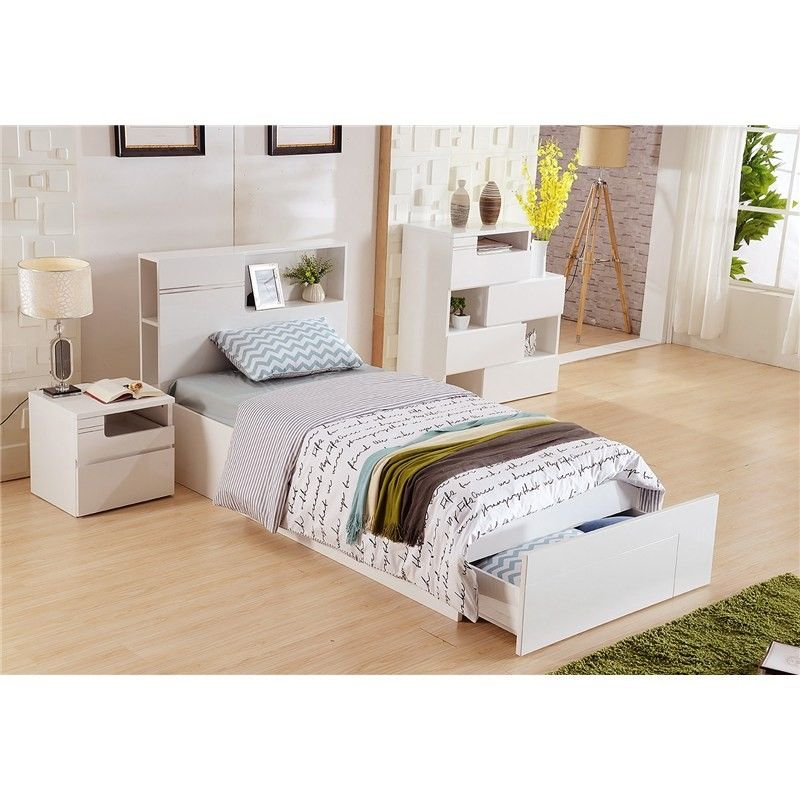 Elaine King Single Bed With Gaslift Storage And End Drawer King