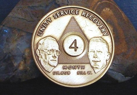 Alcoholics Anonymous 6 Month AA Bronze Keychain Medallion Token chip chip Sober