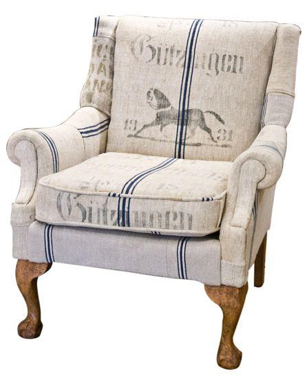 1930 S German Grain Sack Armchair Armchair Reupholster Furniture Grain Sack