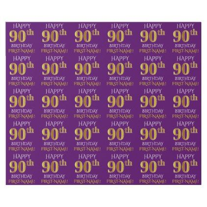 Purple Faux Gold HAPPY 90th BIRTHDAY Wrapping Paper
