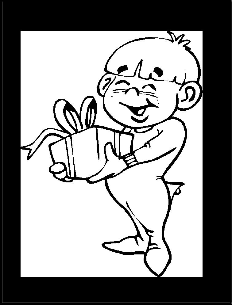 Imagen de Niño recibiendo regalo de navidad | Imagen para colorear ...