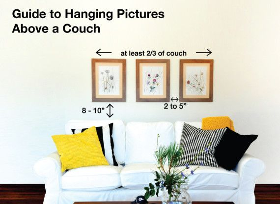 Art Above A Sofa Infographic Showing What Size How High And Much E In Between Pictures