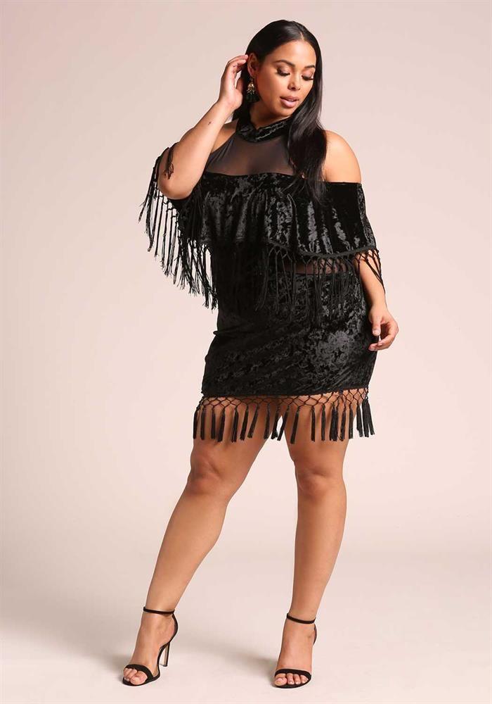 Plus Size Clothing Plus Size Crushed Velvet Tassel Bodycon Dress