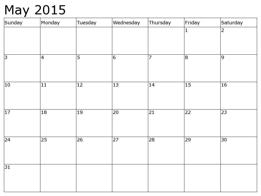 May 2015 Calendar Template Calendar Pinterest Template