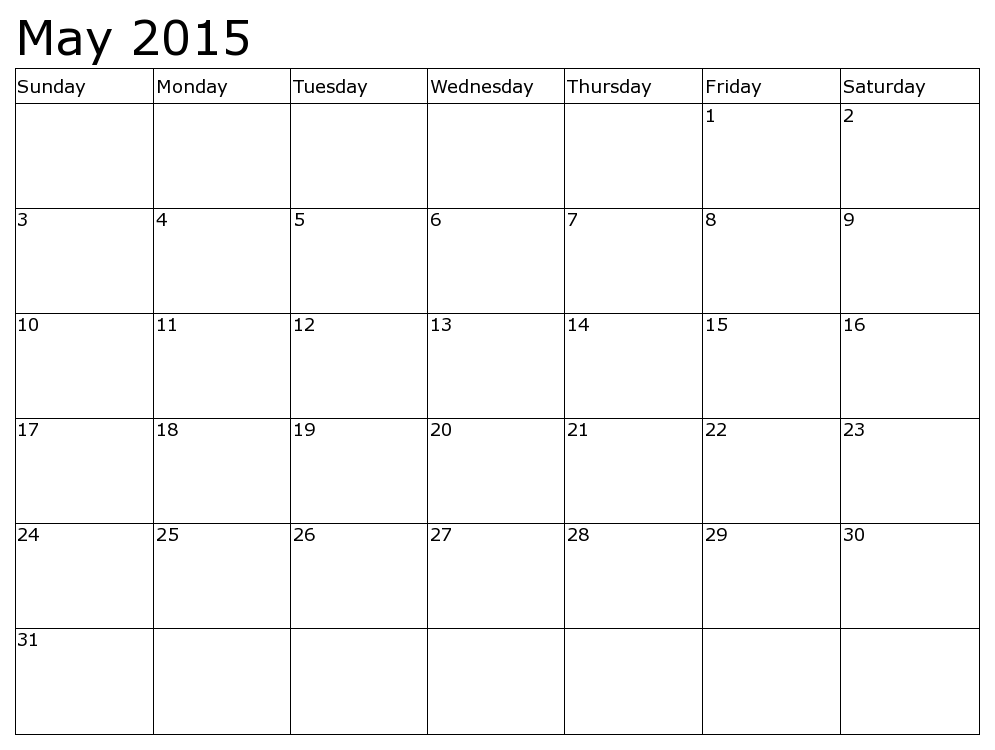Get Latest May 2015 Calendar Printable Pdf Template Excel Doc