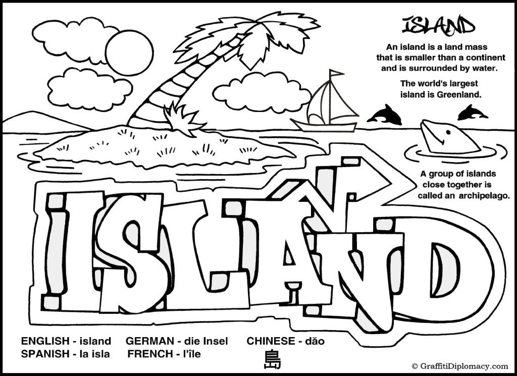 Island Coloring Page Earth Wordz Natural World Coloring Book Art