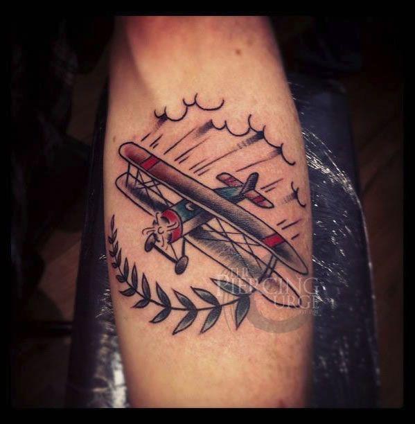 Old school plane tattoo by ben koopman inkspirations for Tattoo shops in waco tx