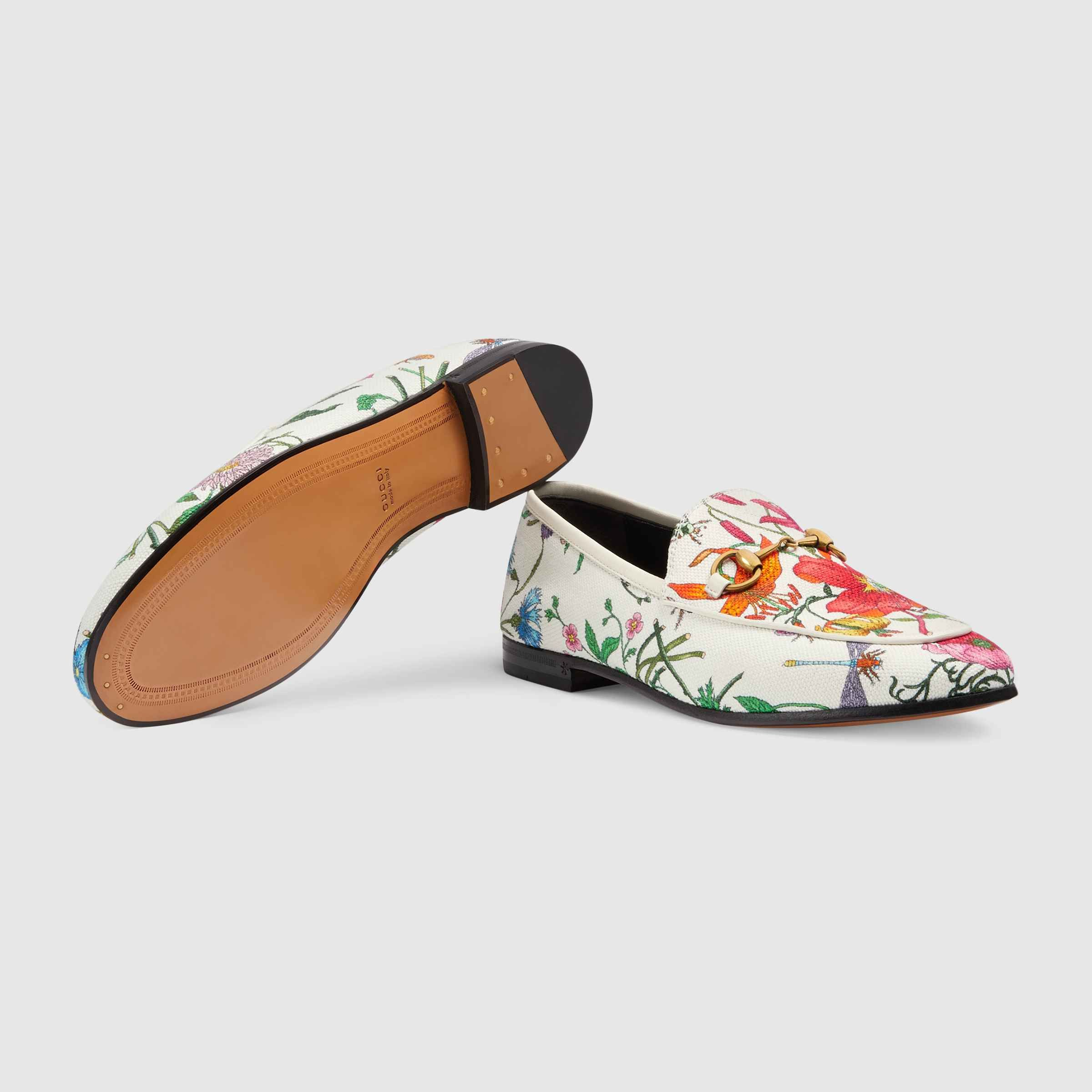 98bd2e2a4b2 Shop the Gucci Jordaan Flora print canvas loafer by Gucci. Presented on the  Gucci Jordaan