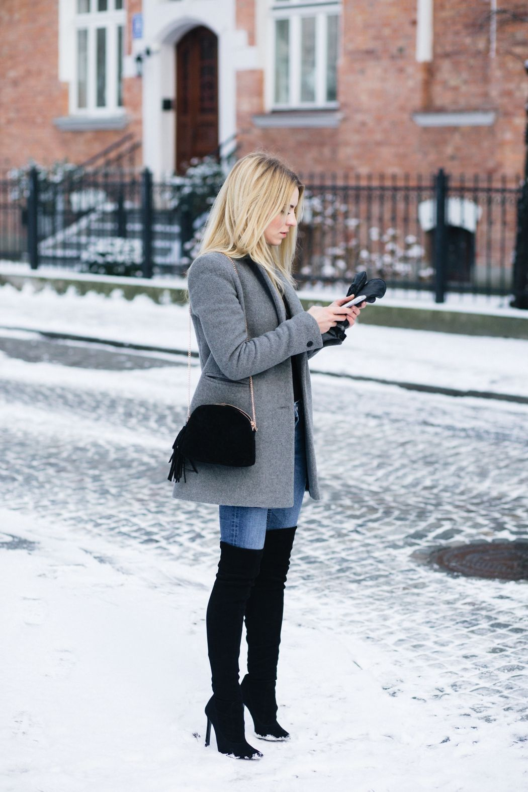 Winter outfit idea with grey jacket, black over the knee ...