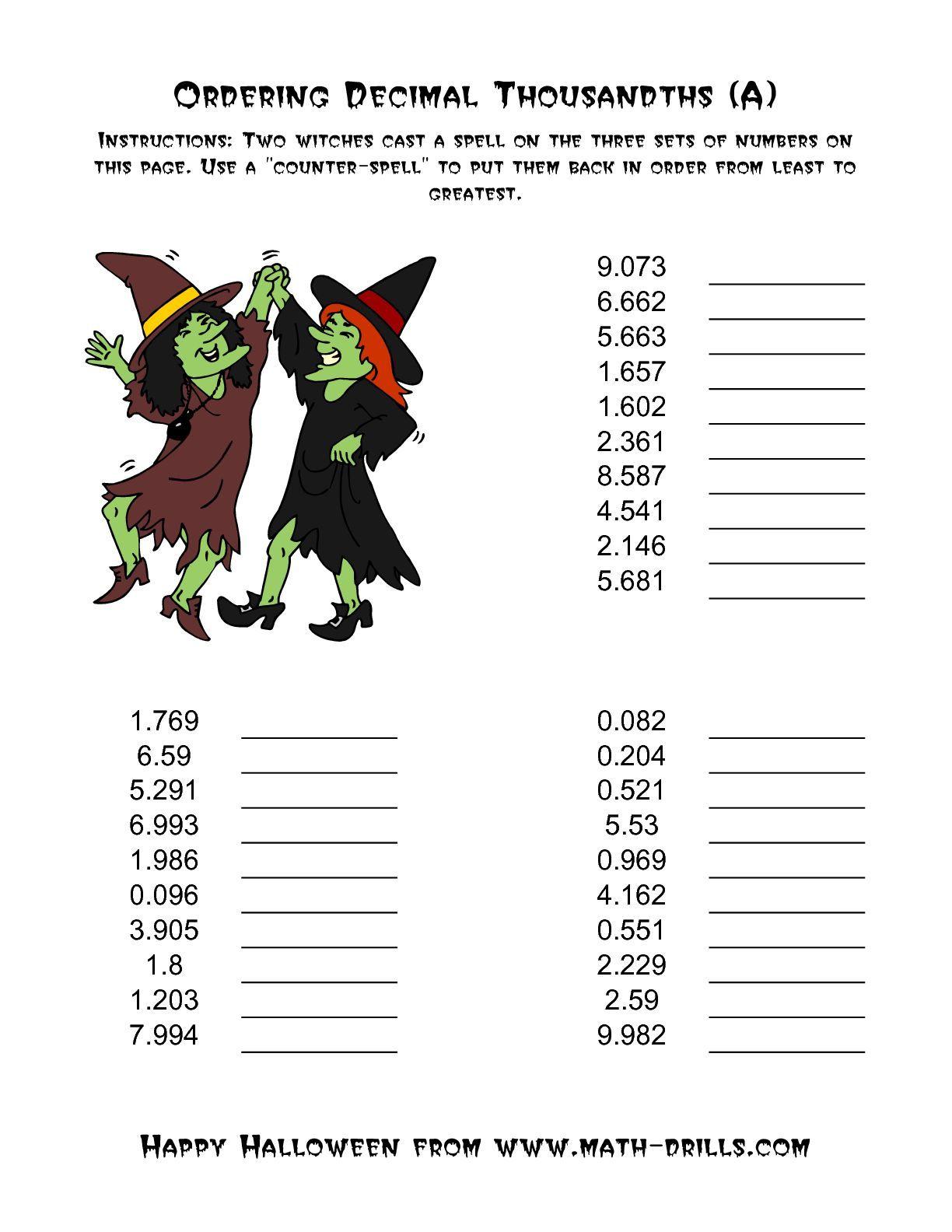 Witches Ordering Decimal Thousandths A Halloween Math Worksheet Ordering Decimals Halloween Math Worksheets Decimals [ 1584 x 1224 Pixel ]