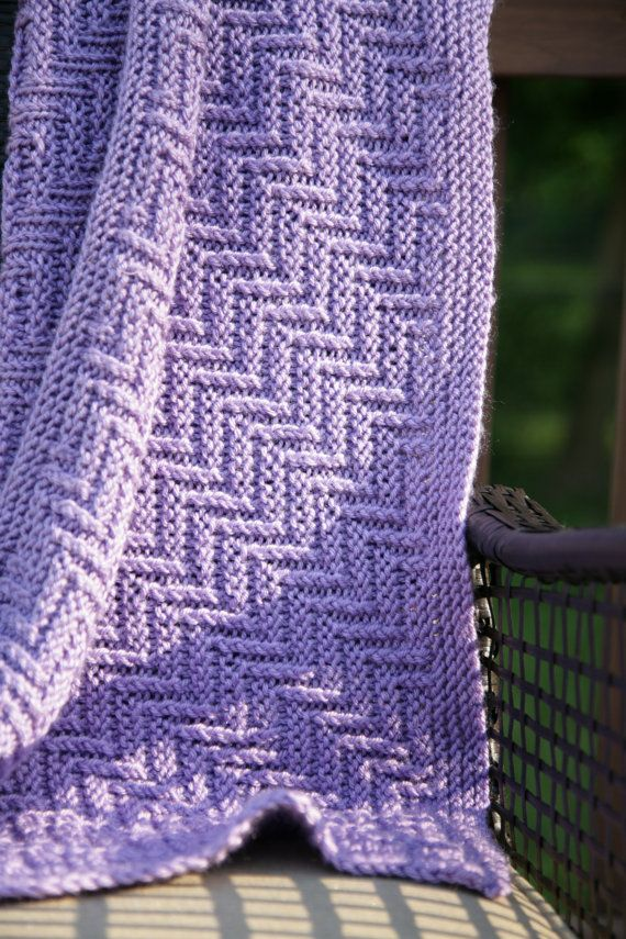 Ziggy-Zaggy Reversible baby blanket,adult afghan throw Knitting ...