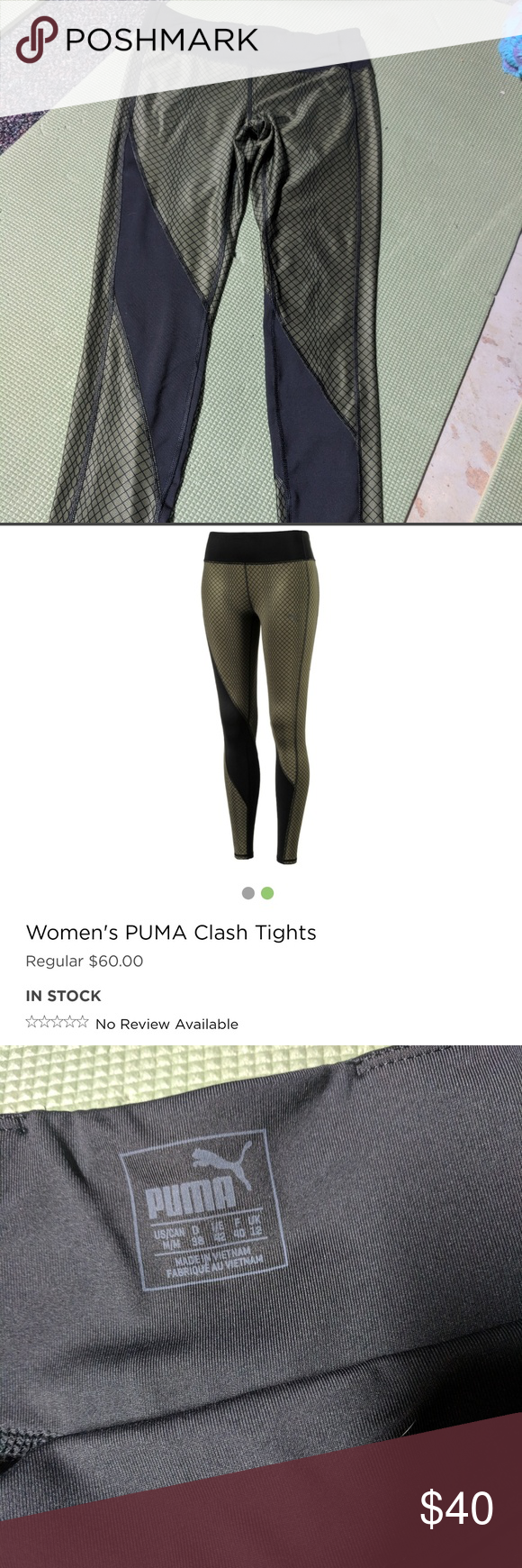 7ee9c469d2894 Puma dry cell workout leggings. Army green black Never worn new without  tags. Size Medium women's puma workout leggings. Army green with mid-rise  waist.