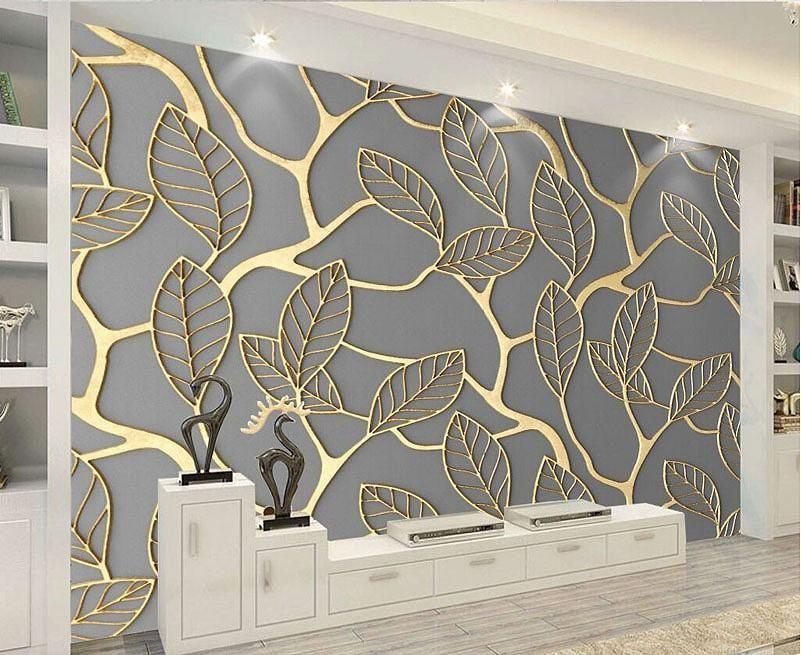 Unique 3d Golden Leaves Pattern Wallpaper Mural Gold Leaf Design For Your Home Or Business Creative Wall Art Wallpaper Wallpaper House Design Wall Wallpaper