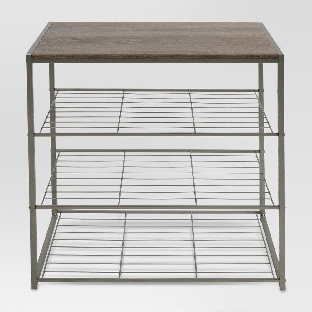 4 Tier Shoe Rack With Rustic Oak Finish Top Gray Metal Threshold In 2020 4 Tier Shoe Rack No Closet Solutions Hanging Shoe Storage