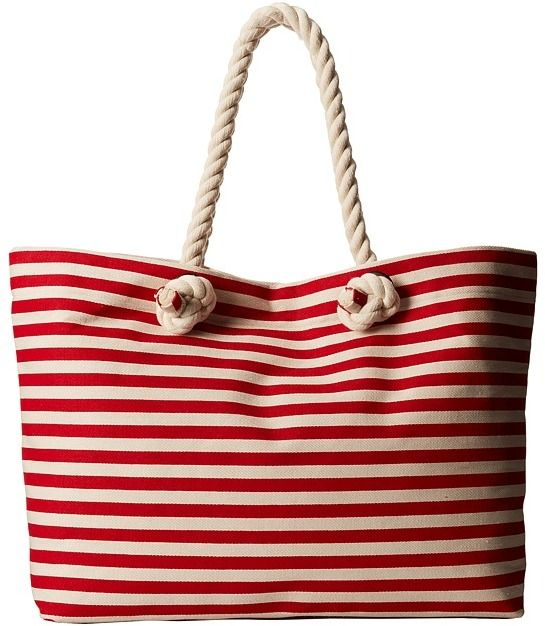 98 Red And White Horizontal Striped Canvas Tote Bag Hat Stripe W