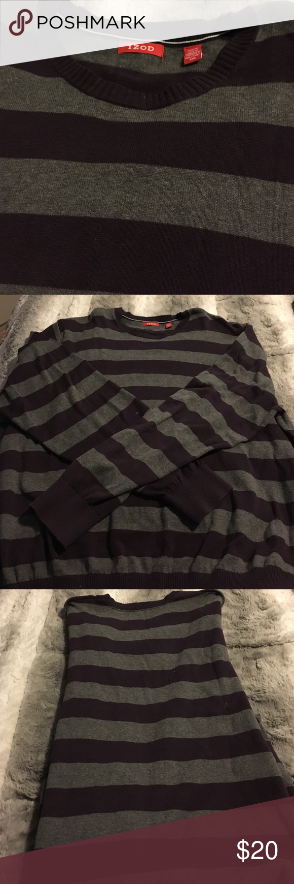 Men's Izod Striped Sweater 100% Cotton XXL Izod Sweaters Crewneck
