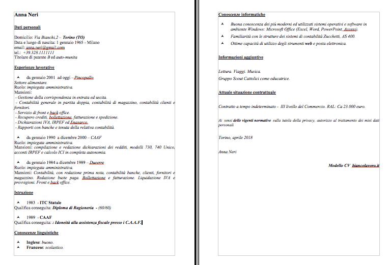 Modelli Curriculum Vitae Da Compilare Per Tutte Le Mansioni Con