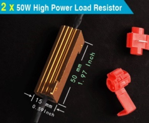 2 PCS 50W 6ohm Load Resistors For Hyper Flash Turn Signal Blinker LED. Stop Hyper Flashing 2 pieces of Brand New,50W 6Ohm Load Resistors with T-Tap included. - Brand new high quality - Can be used with vehicle turn signal light's LED conversion - Solve hyper flash or no blinking of turn signal - Each LED bulb installation requires one resistor connected in parellel